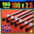 2.5mm x 100mm Black Nylon Cable Ties, (Zip Tie Wraps)